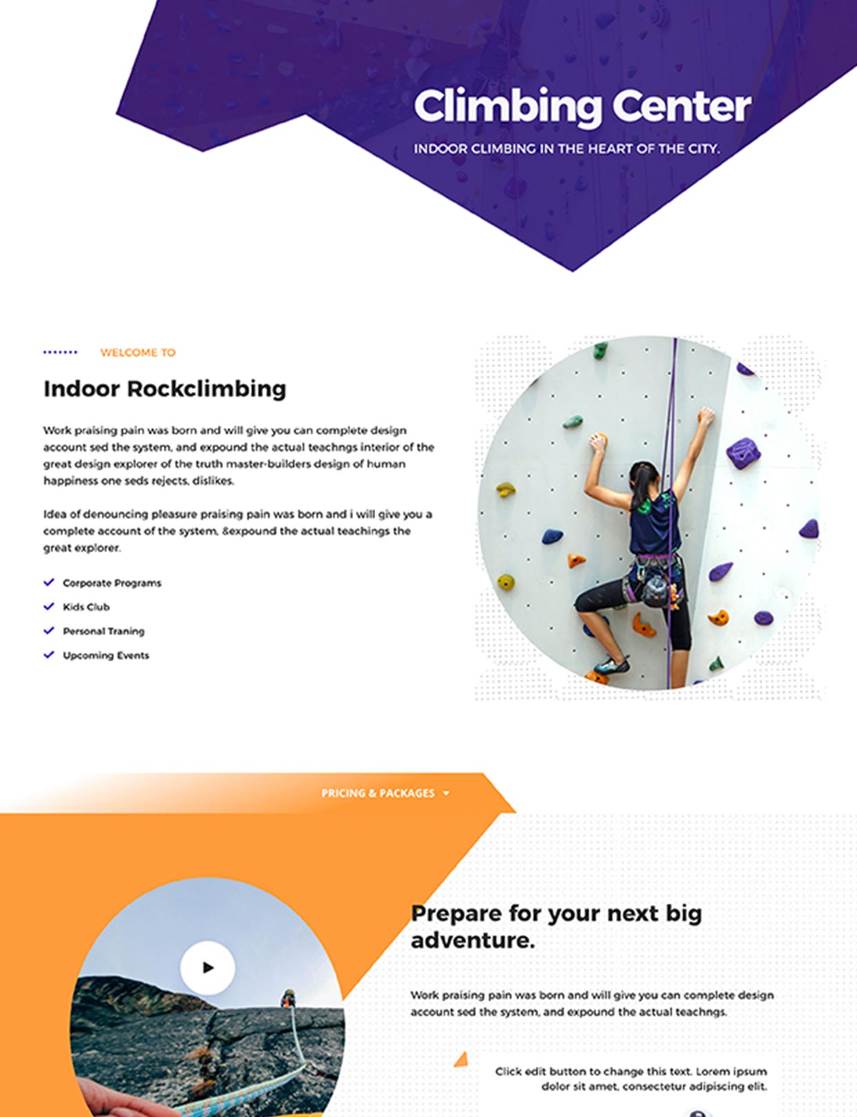 Indoor Rock Climbing Website Template
